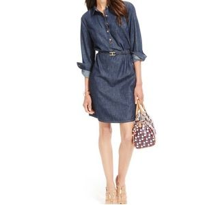 Tommy Hilfiger chambray pullover dress gold button